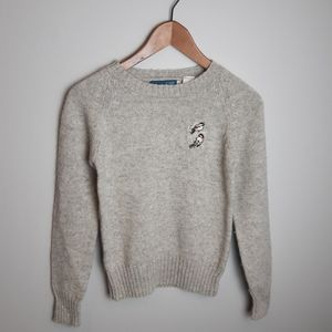 Vintage Wool Sweater with Embroidered Chickadees